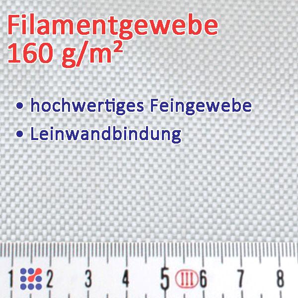 GLASFASERGEWEBE GLASGEWEBE ROVING FILAMENTGEWEBE F. POLYESTERHARZ EPOXIDHARZ GFK Glasgewebe 160 g/m²
