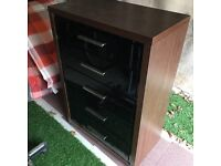 Brown and black gloss 4 drawer unit with media compartment