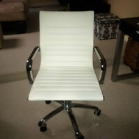 Faux White Leather Office Chairs