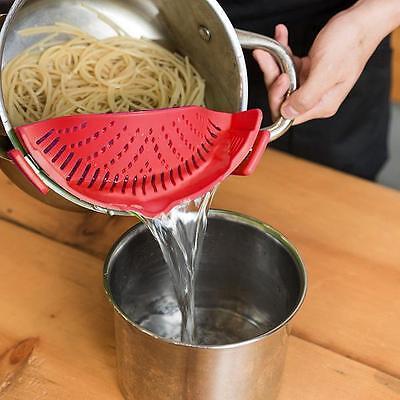 Kitchen Pan Strainer SNAP'N STRAIN Clip-on Silicone Pasta Food Draining Liquid