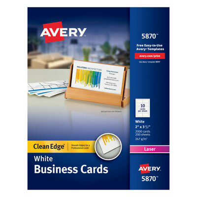 Avery Laser Clean Edge 2-side Printable Business Cards 2 X 3 12 2000-pk