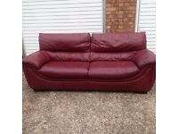 "Cherry red leather sofas x2 £100 ""free local delivery"""
