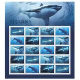 USPS New Sharks Full Pane of 20