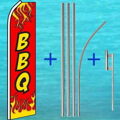 Bbq Flutter Flag Pole Mount Kit Tall Advertising Sign Feather Swooper Banner