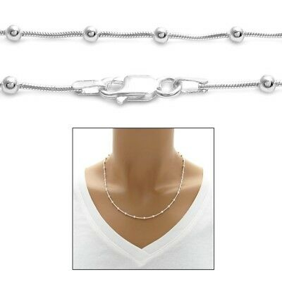 925 Sterling Silver Multi-Bead Snake Chain Necklace or Bracelet 3mm ()
