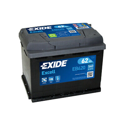 1x Exide Excell 62Ah 540CCA 12v Type 027 Car Battery 3 Year Warranty - EB620