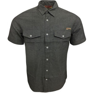 Tokyo Laundry Mens Shirts Plain Short Sleeve Cotton Green Red Charcoal or Blue