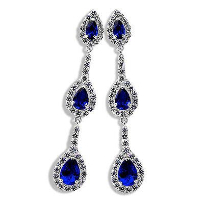 Pear Shape Sapphire Earrings (4.59 CARAT STUNNING PEAR SHAPE BLUE SAPPHIRE DROP DANGLING EARRINGS)