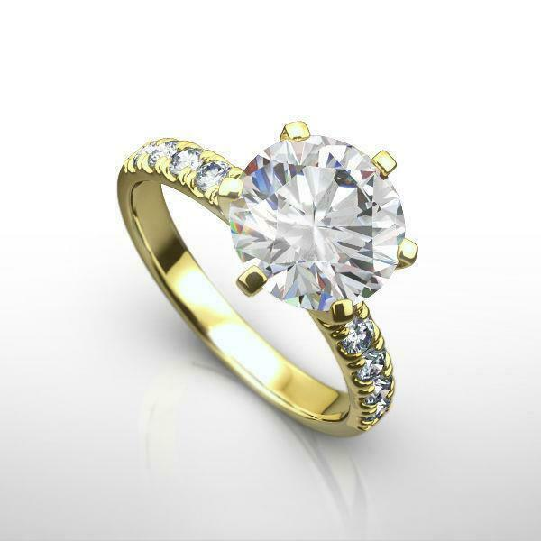 Certified 14 Kt Yellow Gold 1.8 Ct 6 Prongs Certified Diamond Ring Round Ladies