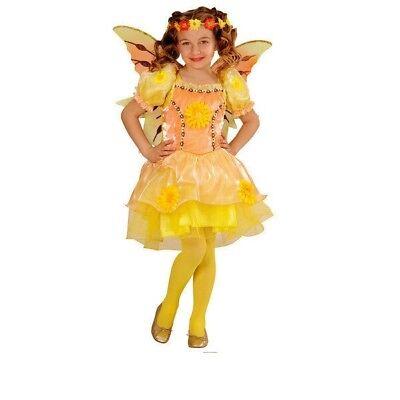 Gr. 104 Sommer Fee gelb Karneval Fasching Neu (Gelbe Fee Kostüm)