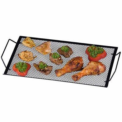 Vassoio Griglia per Barbecue 40 x 22 cm in Metallo Nero con 2 Manici Laterali