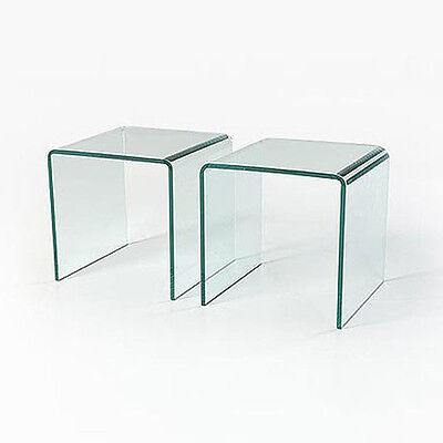 PAIR OF GLASS SIDE TABLES COFFEE SET OF TWO CURVED END LIVING BENT TABLE EDGE
