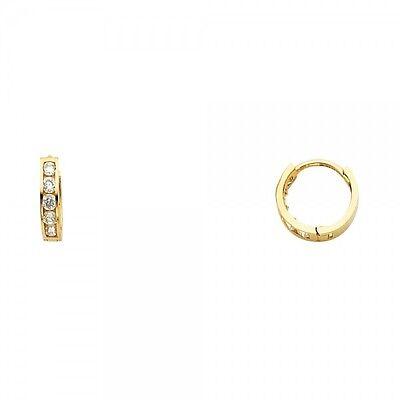 14K Yellow Gold Round Diamond Huggies Earrings for Women Baby Children