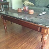 Marble and wood coffee table with matching sofa and end table