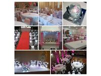 £150 Wedding package, chair covers, candy cart, love letters, centrepieces, sashes, venue dressing