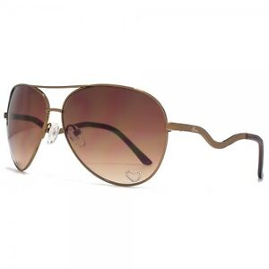 LADIES GUESS AVIATOR DESIGNER SUNGLASSES - BROWN GRADIENT LENSES - GU7021 BRN-34