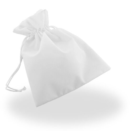 Wholesale Lot White Velour Draw String Pouch Set of 200