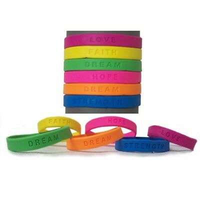 144 SILICONE BRACELET WRISTBANDS WITH INSPIRATIONAL WORDS CARNIVAL PRIZES BULK (Carnival Prizes Bulk)