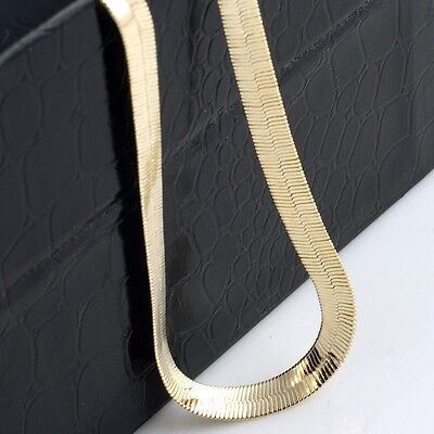 Mens 18K Yellow Gold Plated 24in Herringbone Chain Necklace 7 MM