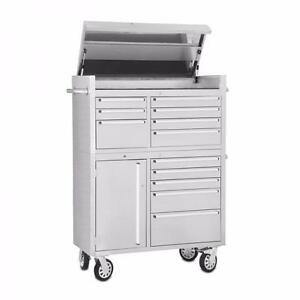 "NEW 41"" ROLLER TOOL CHEST 14 DRAWER STAINLESS STEEL TOOL BOXES BENCHES"