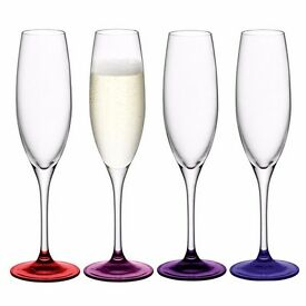 4x champagne flutes LSA International Coro Berry (set in original box)