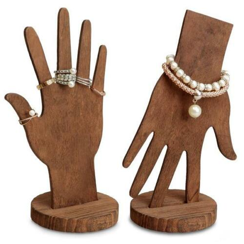 Wooden Bracelet and Ring Display, Brown, Multi-Functional, Hand, Wrist & Fingers