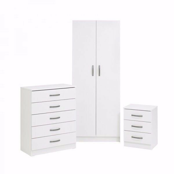 Bedroom Set With 2 Door Wardrobe Chest Of Drawers & Bedside Table: £159