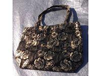 Rose motif gold black handbag /shopping bag
