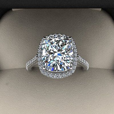5.00 Ct. Natural Cushion Cut Halo Pave Eternity Diamond Engagement Ring - GIA