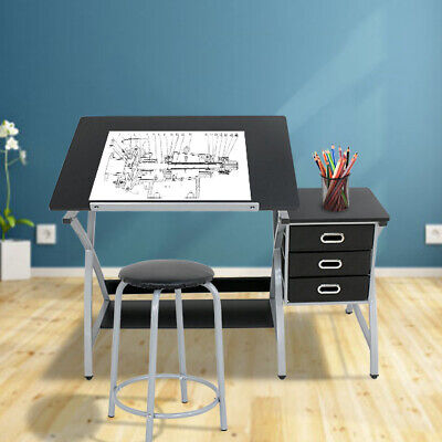 Drafting Craft Table Station MDF Top Drawing Desk Art Work Artist Drawer (Station Drafting Table)