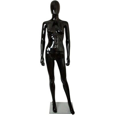 Mn-450 Glossy Black Female Abstract Egghead Mannequin With Removable Head