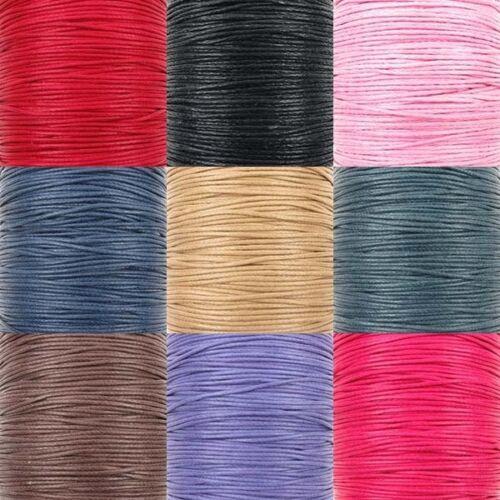 Black Waxed Cotton Cord Thread Shamballa Macrame Jewellery Black, 1mm 10 metres 1mm The Bead Shop