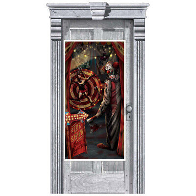 SIDE SHOW DOOR COVER Scene Setter Halloween Party Decoration Evil Clown Carnival - Circus Scene Setters