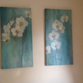 Teal flower canvas