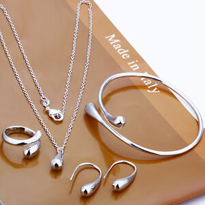 Stunning 925 Sterling Silver Teardrop Bean Bracelet/Necklace/Ring/Earrings Set