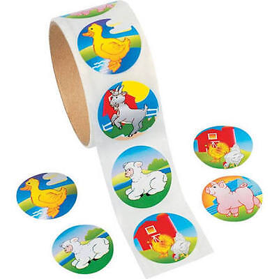 25 farm animal Stickers Party Favor Teacher Pig Cow Sheep Chicken barn duck