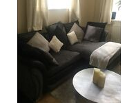 Small double bed sofa l shaped lounge microve and toaster. All in excellent condition