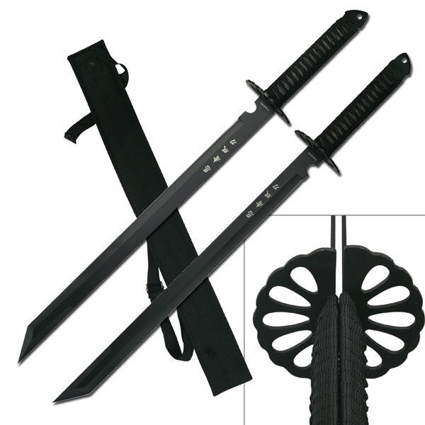 "2 PC Large Full Tang 26"" Ninja Twin Tanto Blade Sword Machete w/Nylon Sheath"