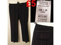 **M&S UK18 Long Pinstripe Work Trousers** Good Condition!!