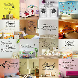 Family-DIY-Removable-Vinyl-Quote-Wall-Stickers-Decal-Mural-Christmas-Home-Decor