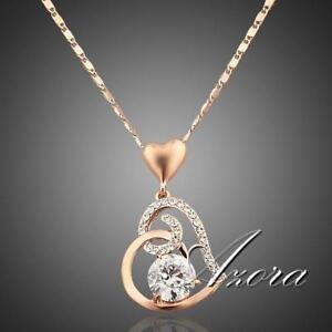 Women Love Heart Chain Necklace Crystal 18K Rose Gold Plated Swarovski Fashion