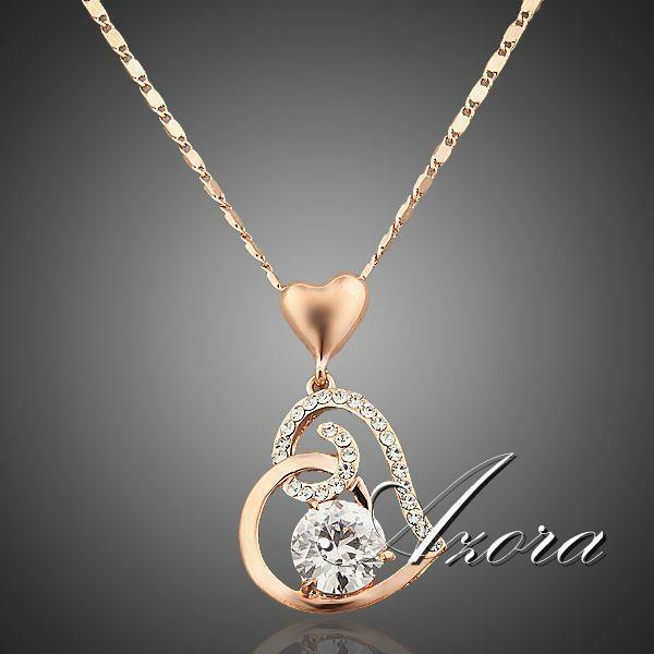 Jewelry - Women Love Heart Shape Chain Pendant Necklace Crystal 18K Rose Gold Plated