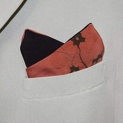 "Pocket Square Men's Fashion Accessory Vintage Kimono Fabric ""Coral Batik"""