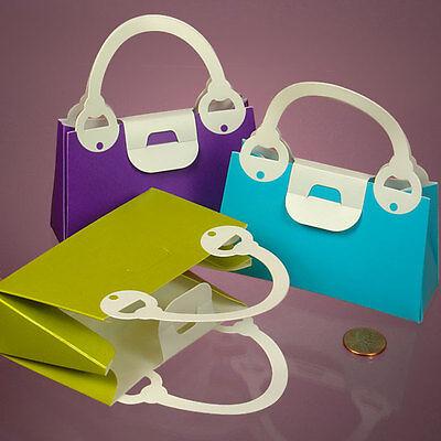 12 Colored Handbag Bridal Shower Wedding Favor Boxes - Purple, Pink, Or Blue (Blue Wedding Favor Boxes)