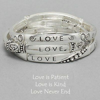 Love Is Patient Love Is Kind Bracelets SILVER Inspirational Message Jewelry (Love Is Kind Love Is)