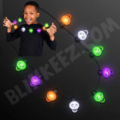 LED HALLOWEEN Zombie Skulls Light Up Necklace