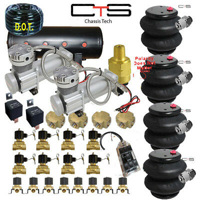 CHEV Air Suspension Kit Bags Valves Tank Pswitch airline Compress Switch cross