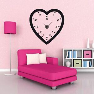 sticker mural horloge g ante coeur avec m canisme. Black Bedroom Furniture Sets. Home Design Ideas