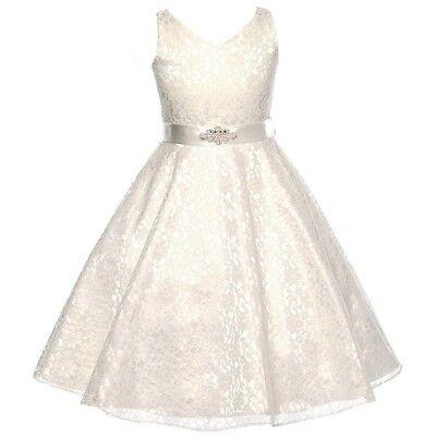 IVORY Lace Flower Girl Dress Dance Wedding Party Birthday Recital Graduation (Ivory Lace Flower Girl Dress)
