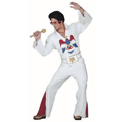 Elvis Presley Kostüm 3 Stück Weiß Schlaghose Leg Hose Top & Gürtel mit Glitzer